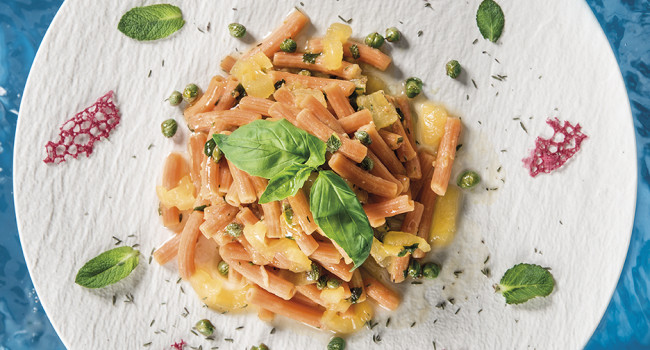 Lentil pasta with yellow tomatoes, Capers, Anchovies and fresh herbs