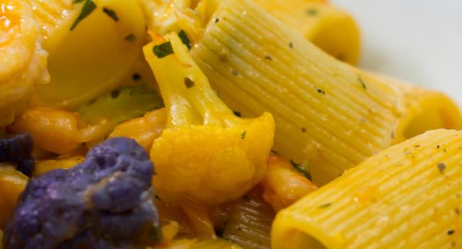 Mezze maniche pasta with prawns, cauliflower and shellfish bisque