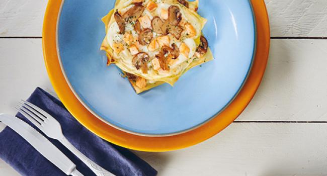 Lasagne with salmon and portobello mushrooms