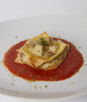 Grouper Lasagna on tomato velloutè