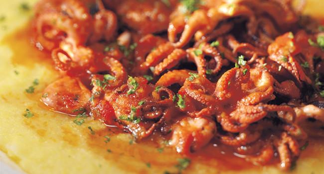 Moscardini in guazzetto con polenta