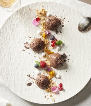 Mousse de chocolate con avellanas tostadas y frutas del bosque
