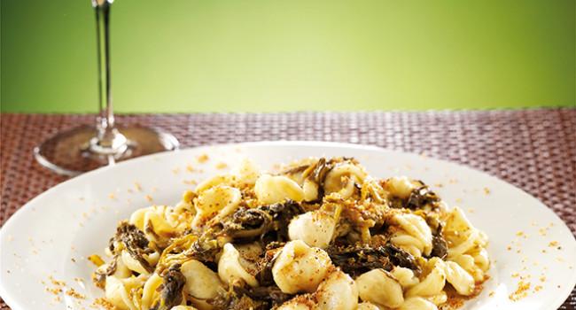 Orecchiette pasta with turnip tops and anchovies