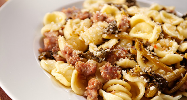 Orecchiette pasta with turnip tops and sausages