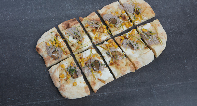 P.A.L.A. with sweet corn and truffle mortadella mousse