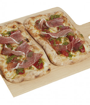 P.A.L.A. con mini red, pesto e prosciutto crudo