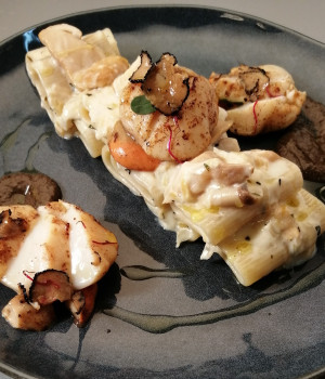 Paccheri pasta with leek sauce, scallops and truffle