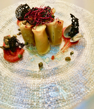 Cod stuffed paccheri with baby capers and pomodorina coulis