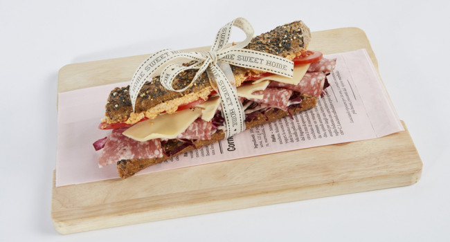 Multigrain panino with salami, emmenthal and Pizzicosa