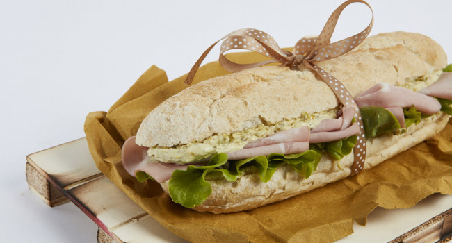 Mortadella and pistachio pesto panino