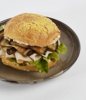 Chicken, aubergine and Tinga panino