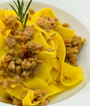 Pappardelle pasta with white ragù