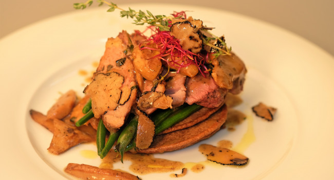 Pan seared duck breast, green beans, porcini, truffle and chestnuts pancake