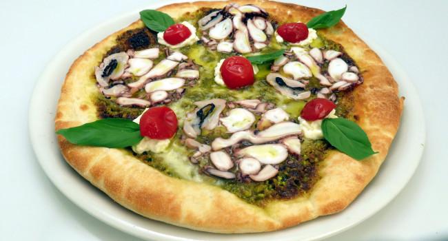 Pizza with Octupus Carpaccio and Pistacchio Pesto