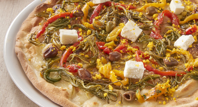 PIZZA ÈAGRETTI, ROASTED PEPPERS, LECCINO OLIVES, FETA CHEESE AND EGG YOLKS