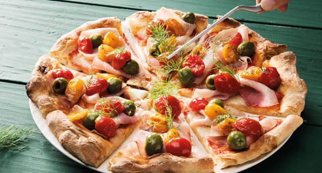 Pizza with Marlin, Olives , Dorati and Yellow semi dried tomatoes ,