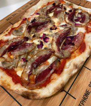 Pizza P.A.L.A.  with Portobello mushrooms, pecorino cheese and  smoked goose breast