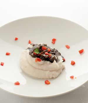 White polenta with cuttlefish ink