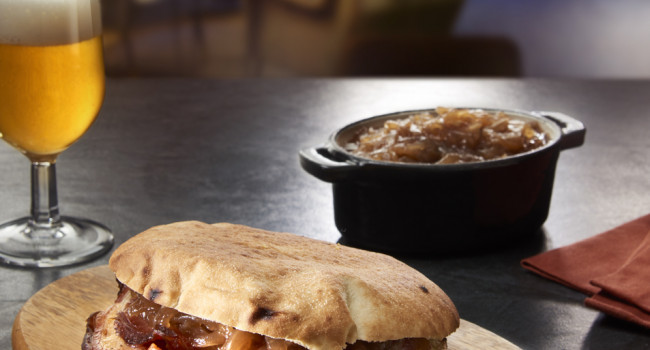 PUCCIA BREAD WITH SLOW-ROASTED PORK AND CARAMELISED ONION