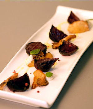 Roasted beets with goat cheese mouse, porcini and truffle