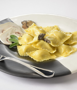 RAVIOLI WITH TRUFFLE and BUTTON MUSHROOMS