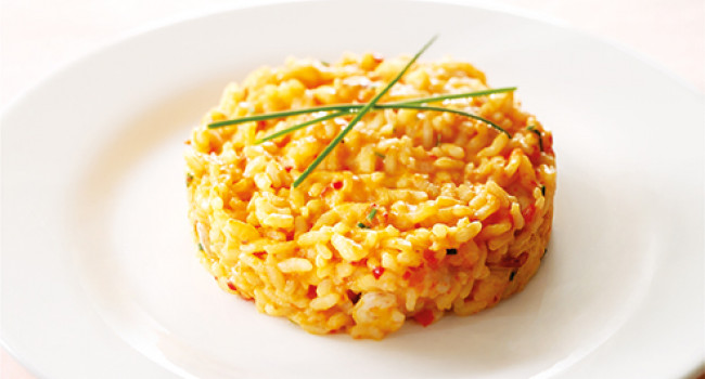 Risotto with pepper and prawns