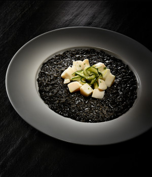 BLACK RISOTTO WITH CUTTLEFISH AND MARINATED COURGETTES