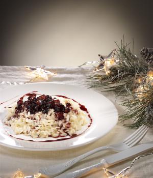 Risotto con pere, formaggio di fossa e riduzione al vino rosso