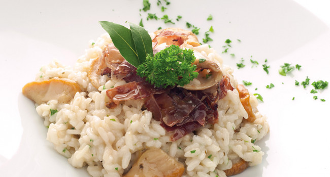 Porcini and speck risotto