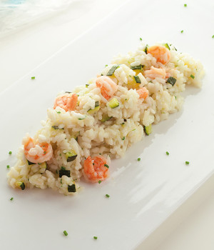 Risotto with prawns and zucchini