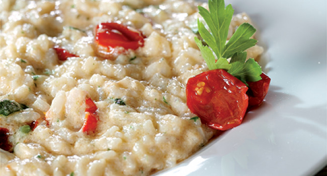 Risotto with courgettes, cherry tomatoes and scampi cream