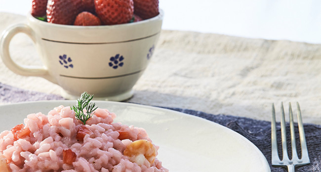 Risotto  with prawns and strawberries