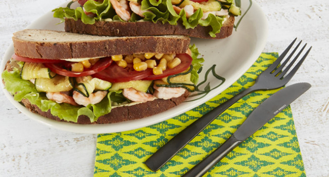 Sandwich with Èmazzancolle, courgettes, sweet corn and curry powder