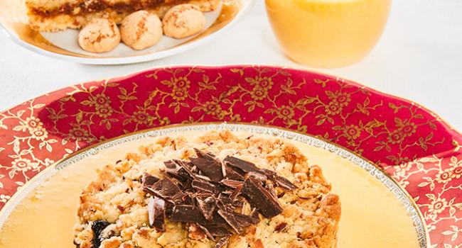 Sbrisolona ripiena con cioccolato e castagne