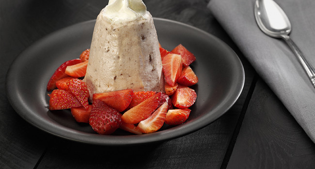 Amaretto and strawberry semifreddo