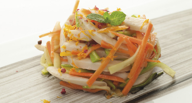 CUTTLEFISH MARINATED IN ORANGE WITH GARDEN VEGETABLES