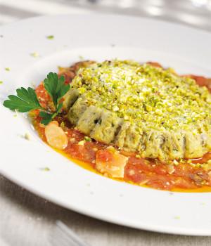 Artichoke flan with crudaiola sauce