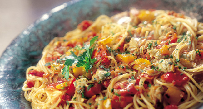 Spaghetti with Clams , Peppers and Bottarga