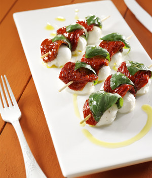 Skewers of Tuttosole tomatoes