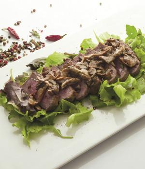 Beef tagliata with woodland infusion