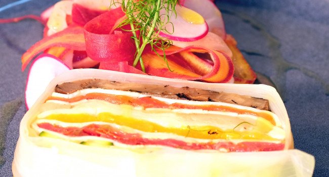 Smoked scamorza and Vegetable Terrine