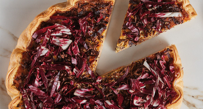 Radicchio and  PROVOLA cheese flan