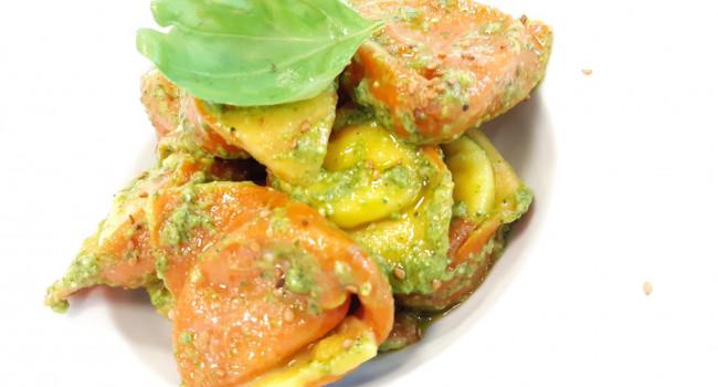 Colored Tortelloni stuffed with Pecorino Cheese, Potatoes and Basil Pesto
