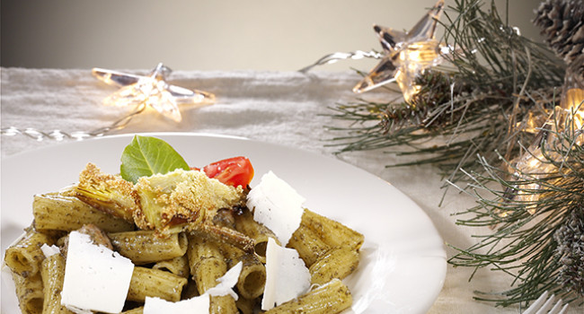 Tortiglioni with Sausages, Nettles and Crispy Artichokes