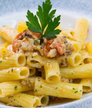 Tortiglioni with rockfish and datterino tomatoes