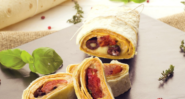 Tortillas con Mezzoro e olive Taggiasche