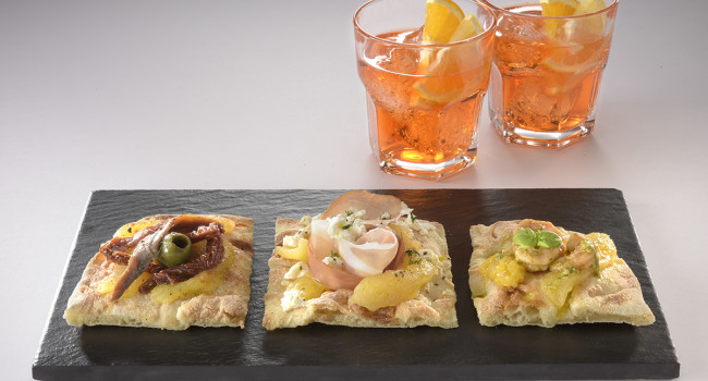TRIPTYCH OF PIZZA WITH YELLOW TOMATOES