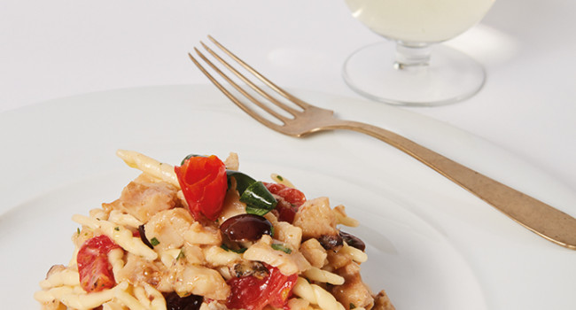 TROFIE  WITH ROCKFISH, TAGGIASCA OLIVES AND MINI RED TOMATOES