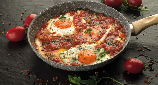 Typical dish with Shakshuka and eggs