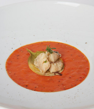 VELOUTÈ OF RED PEPPER  WITH ROCKFISH